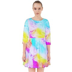Background Drips Fluid Colorful Smock Dress by Bejoart