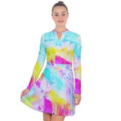Background Drips Fluid Colorful Long Sleeve Panel Dress
