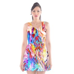 Background Drips Fluid Colorful Scoop Neck Skater Dress