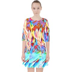 Background Drips Fluid Colorful Pocket Dress