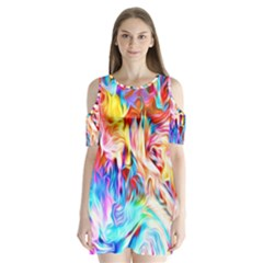 Background Drips Fluid Colorful Shoulder Cutout Velvet One Piece by Bejoart