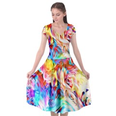 Background Drips Fluid Colorful Cap Sleeve Wrap Front Dress
