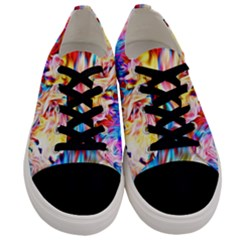 Background Drips Fluid Colorful Men s Low Top Canvas Sneakers