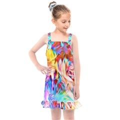 Background Drips Fluid Colorful Kids  Overall Dress