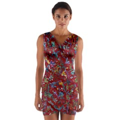Painting Abstract Painting Art Wrap Front Bodycon Dress
