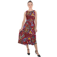 Painting Abstract Painting Art Midi Tie Back Chiffon Dress