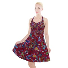 Painting Abstract Painting Art Halter Party Swing Dress  by Bejoart