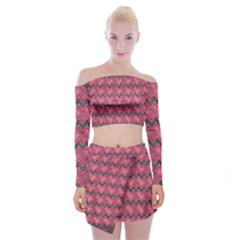 Background Pattern Structure Off Shoulder Top With Mini Skirt Set
