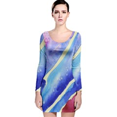 Painting Abstract Blue Pink Spots Long Sleeve Velvet Bodycon Dress