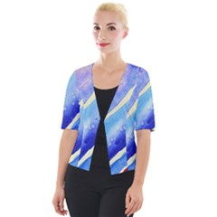 Painting Abstract Blue Pink Spots Cropped Button Cardigan