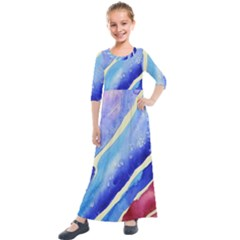 Painting Abstract Blue Pink Spots Kids  Quarter Sleeve Maxi Dress