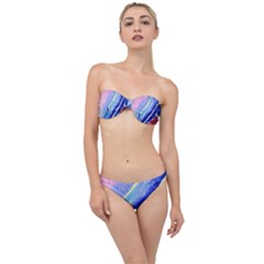Painting Abstract Blue Pink Spots Classic Bandeau Bikini Set