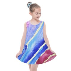 Painting Abstract Blue Pink Spots Kids  Summer Dress by Bejoart