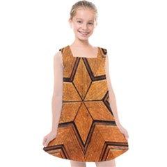 Wood Pattern Texture Surface Kids  Cross Back Dress
