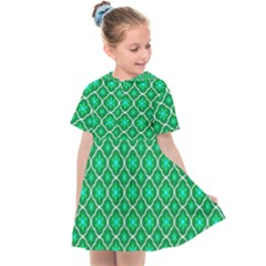 Green Texture Background Template Rustic Kids  Sailor Dress