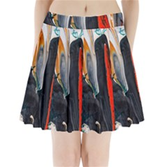Art Modern Painting Background Pleated Mini Skirt