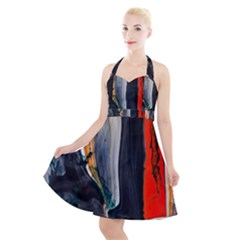 Art Modern Painting Background Halter Party Swing Dress