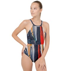 Art Modern Painting Background High Neck One Piece Swimsuit