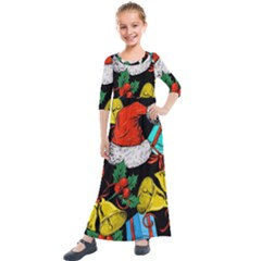 Christmas Gifts Gift Red Winter Kids  Quarter Sleeve Maxi Dress