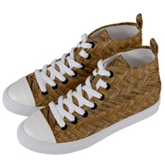 Esparto Tissue Braided Texture Women s Mid-top Canvas Sneakers by Bejoart