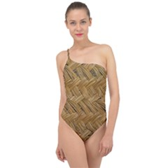 Esparto Tissue Braided Texture Classic One Shoulder Swimsuit by Bejoart