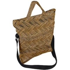 Esparto Tissue Braided Texture Fold Over Handle Tote Bag