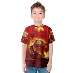 Wonderful Fairy Of The Fire With Fire Birds Kids  Cotton Tee