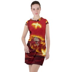 Wonderful Fairy Of The Fire With Fire Birds Drawstring Hooded Dress
