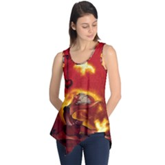 Wonderful Fairy Of The Fire With Fire Birds Sleeveless Tunic