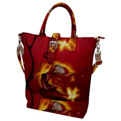 Wonderful Fairy Of The Fire With Fire Birds Buckle Top Tote Bag