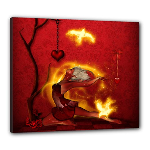 Wonderful Fairy Of The Fire With Fire Birds Canvas 24  X 20  (stretched) by FantasyWorld7