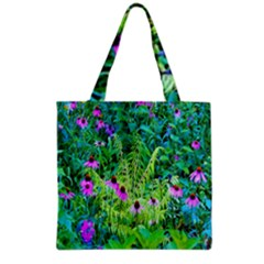 Purple Coneflower Garden With Tiger Eye Tree Grocery Tote Bag by myrubiogarden