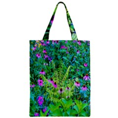 Purple Coneflower Garden With Tiger Eye Tree Zipper Classic Tote Bag