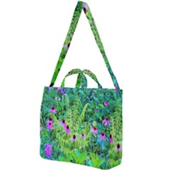 Purple Coneflower Garden With Tiger Eye Tree Square Shoulder Tote Bag by myrubiogarden