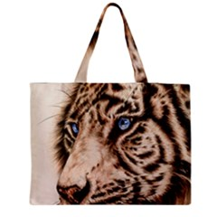 White Tiger Zipper Medium Tote Bag by ArtByThree