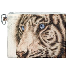 White Tiger Canvas Cosmetic Bag (xxl) by ArtByThree