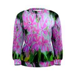 Hot Pink And White Peppermint Twist Garden Phlox Women s Sweatshirt by myrubiogarden
