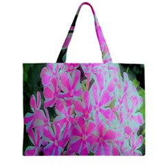 Hot Pink And White Peppermint Twist Garden Phlox Zipper Mini Tote Bag