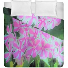 Hot Pink And White Peppermint Twist Garden Phlox Duvet Cover Double Side (king Size)