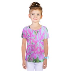 Hot Pink And White Peppermint Twist Garden Phlox Kids  One Piece Tee