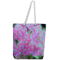 Hot Pink And White Peppermint Twist Garden Phlox Full Print Rope Handle Tote (large)