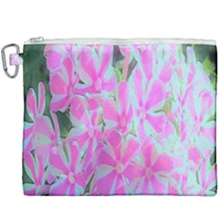 Hot Pink And White Peppermint Twist Garden Phlox Canvas Cosmetic Bag (xxxl)