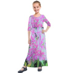 Hot Pink And White Peppermint Twist Garden Phlox Kids  Quarter Sleeve Maxi Dress by myrubiogarden