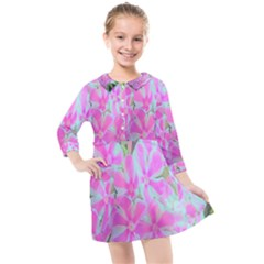 Hot Pink And White Peppermint Twist Garden Phlox Kids  Quarter Sleeve Shirt Dress by myrubiogarden