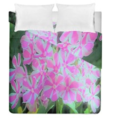 Hot Pink And White Peppermint Twist Garden Phlox Duvet Cover Double Side (queen Size)
