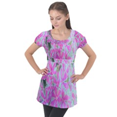 Hot Pink And White Peppermint Twist Garden Phlox Puff Sleeve Tunic Top by myrubiogarden