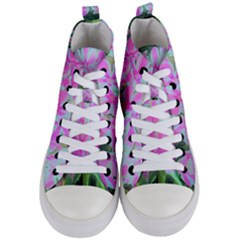Hot Pink And White Peppermint Twist Garden Phlox Women s Mid Top Canvas Sneakers