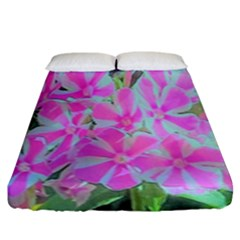 Hot Pink And White Peppermint Twist Garden Phlox Fitted Sheet (king Size) by myrubiogarden