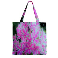 Hot Pink And White Peppermint Twist Garden Phlox Zipper Grocery Tote Bag