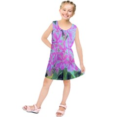 Hot Pink And White Peppermint Twist Garden Phlox Kids  Tunic Dress by myrubiogarden
